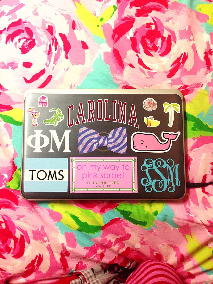 My laptop cover! My favorites, vineyard Vines, Lilly pulitzer, toms