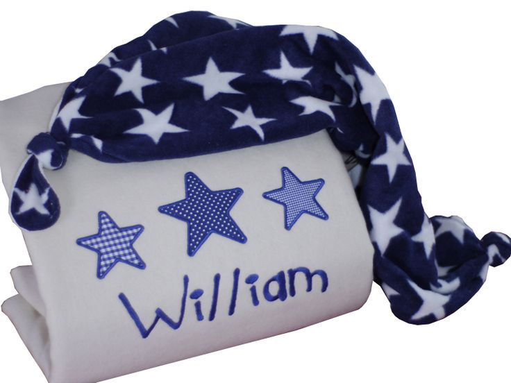 82 best personalised baby blankets images on pinterest personalised baby blanket pure new wool navy stars design negle Images