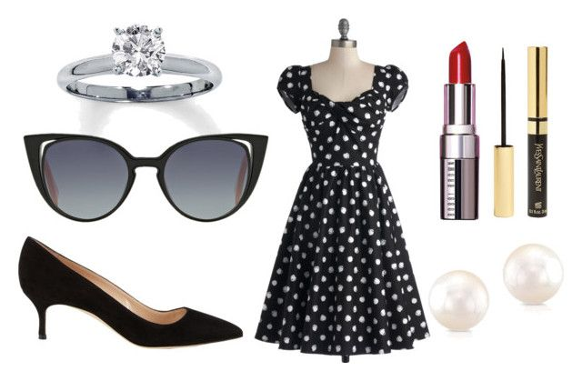 """""""Date[3]"""" by agentpalmer on Polyvore featuring Stop Staring!, Bobbi Brown Cosmetics, Yves Saint Laurent, Fendi and Manolo Blahnik"""