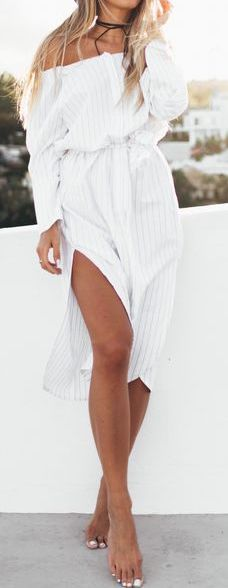 #Summer #Outfits for Spring Break / Off The Shoulder White Slit Dress