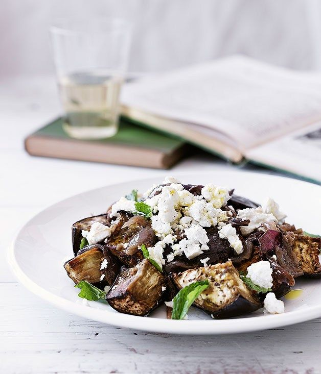 Eggplant, goat's cheese and spiced onion salad - Gourmet Traveller ...