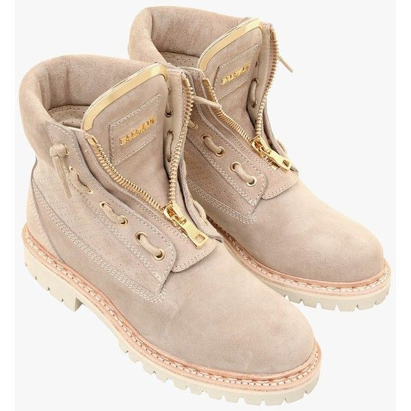 Taiga ranger perforated suede boots | Women's shoes | Balmain ($810) ❤ liked on Polyvore featuring shoes, boots, balmain, balmain boots and balmain shoes