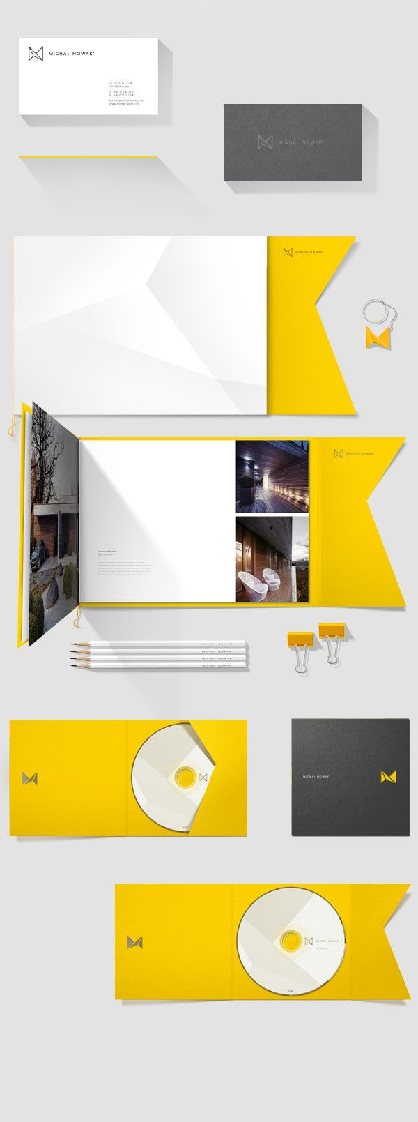 Michał Nowak - Personal Identity by Marcin Przybys and Ania Szerszen - Selected items of the stationery set and printed collateral. The complete design is based on triangular shapes and a color combination of yellow, grey, and white.