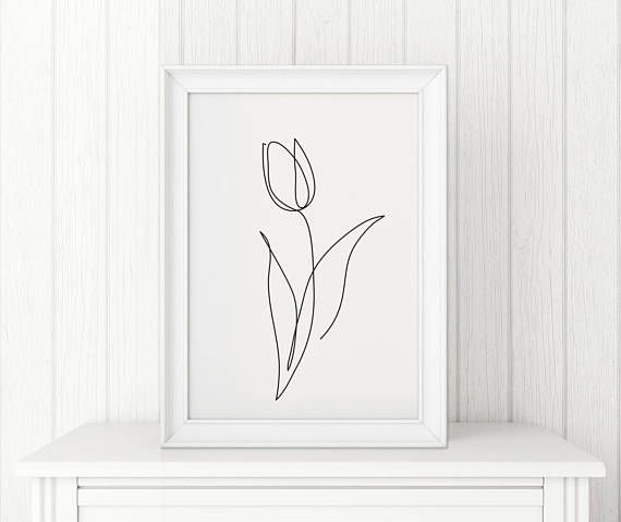 Tulip print, Flower wall art, Tulip one line art, Abstract minimalist decor, Line drawing, Wabi sabi art, Black and White wall art, poster – Michi