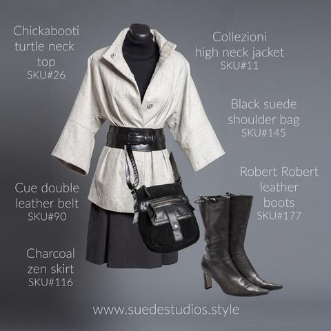 Suede Studios Style: Collezioni high neck jacket, Cue double leather belt, Chickabooti turtle neck top, black suede shoulder bag, Robert Robert leather boots, charcoal zen skirt.