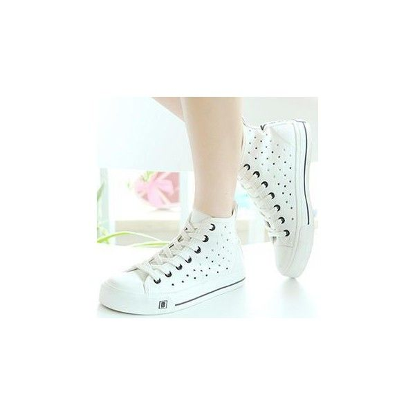 Star Perforated Hidden Wedge Sneakers (100 BRL) ❤ liked on Polyvore featuring shoes, sneakers, footware, wedge trainers, canvas sneakers, all star shoes, white trainers and white sneakers