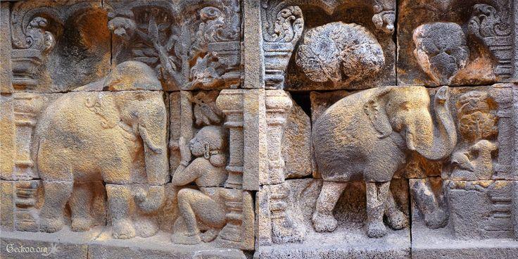 bas-relief de Borobudur, Java, Indonésie