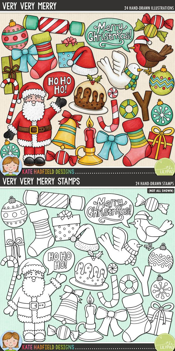 Very Very Merry is a colourful mix of Christmas characters and is part of the December BYOC collection! #katehadfielddesigns