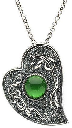 Sterling Silver Wood Quay Heart Shaped Pendant with Green Glass Stone at Claddaghrings.com #valentinesdaygifts #heartjewelry $149.00