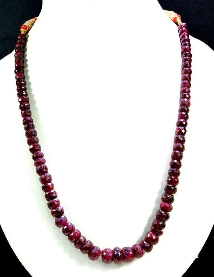 Natural Blood Red Ruby 406ct Big Size Faceted Beaded Gemstone String Necklace #KrishnaGemsNJewels #StrandString