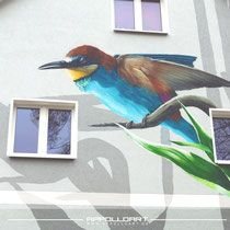Bienenfresser Vogel als Gimmik an der Fassade