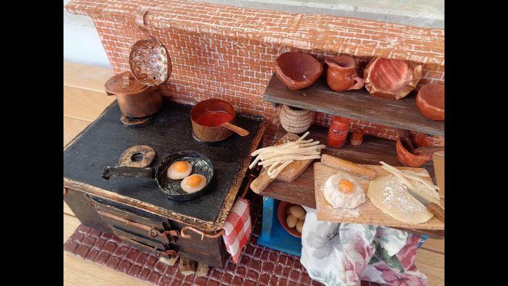 Diorama/ Dolhouse/ Rustic Kitchen miniature 1/12 scale/Casa delle bambole