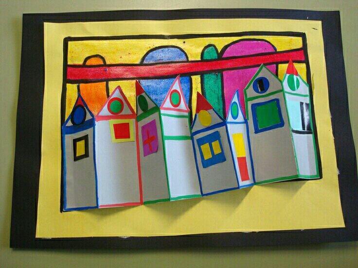 Huisjes in reliëf door @tipsvoordeklas