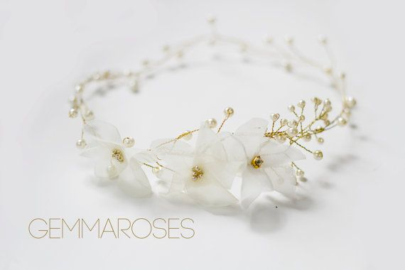 Gold and Ivory Wedding Hair Accessory Bridal by gemmaroses