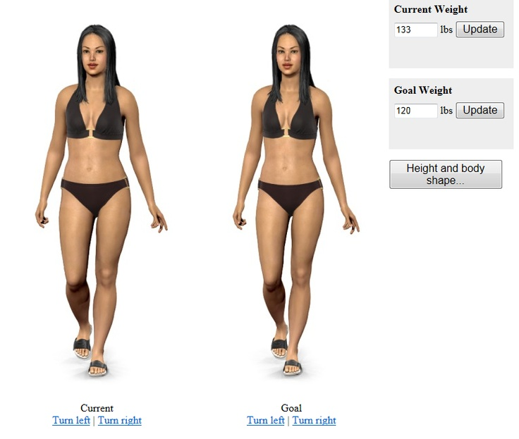 Weight Simulator  Current: 133  Goal: 120  http://api.modelmydiet.com/eywomen