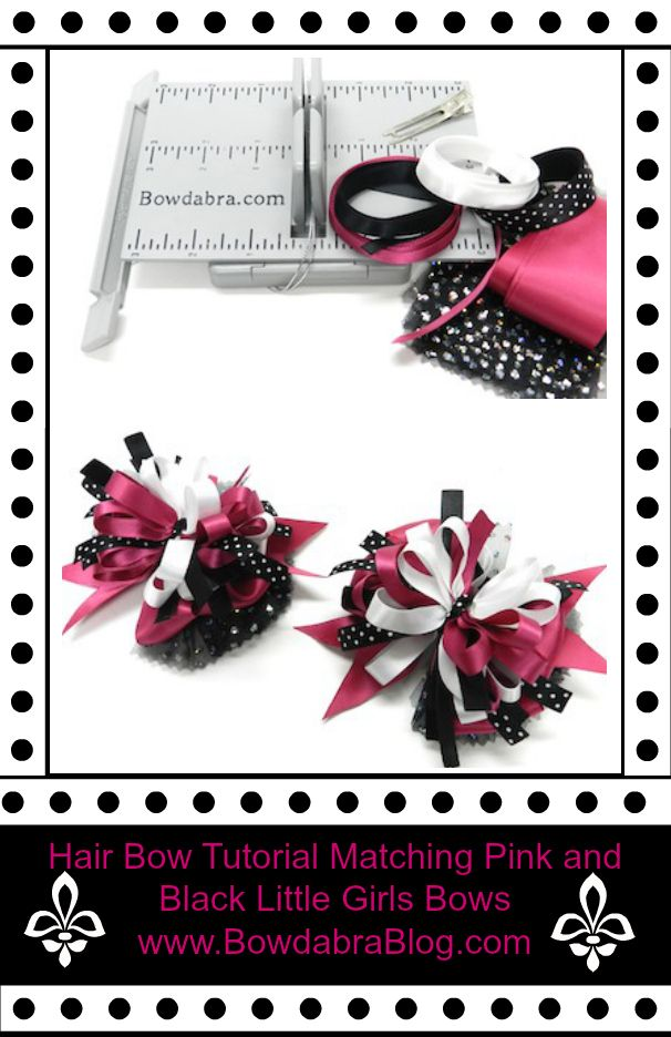 Hair Bow Tutorial Matching Pink and Black Little Girls Bows