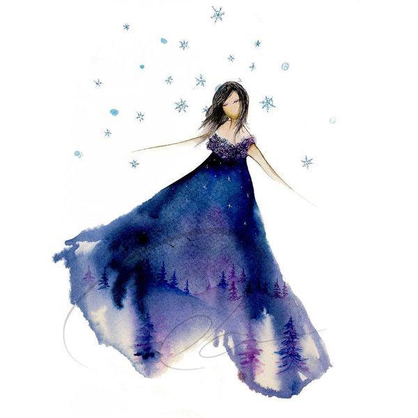 Silent Night - Art Print graceful watercolor painting cute girl's pajamas dancing snow girl winter nightgown fashion sketch Oladesign 5x7