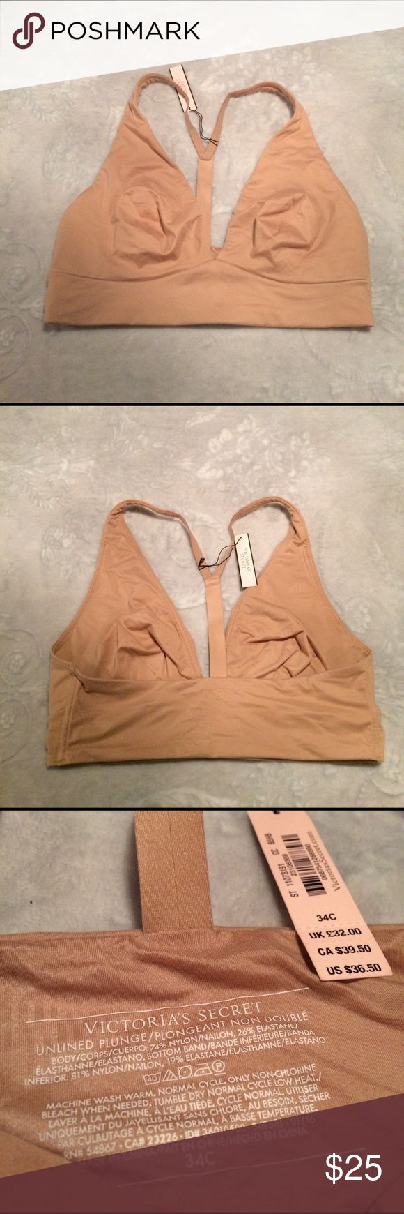 Victoria's Secret Nude Body Bralette 34C NWT T back design. Unlined no wire cups. I do not trade or hold items. Victoria's Secret Intimates & Sleepwear Bras