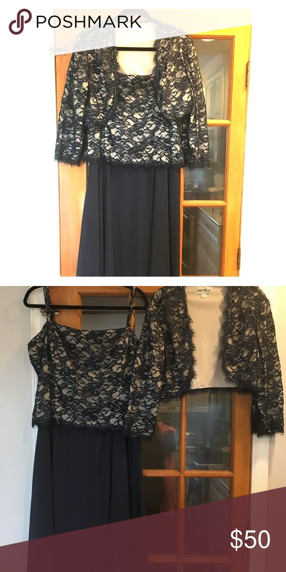 "Karen Miller Long, Navy Dress w/Short Jacket Long, navy dress w/beaded lace top & beaded lace short jacket. Worn once. Hemmed to fit 5'3"" wearing 2"" heels. Karen Miller Dresses Maxi"