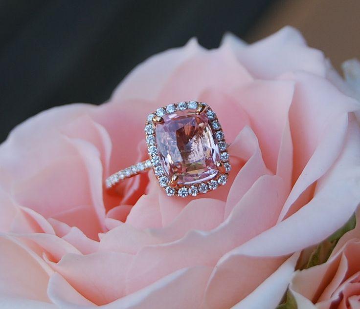 3.1ct Cushion Peach sapphire Champagne sapphire 14k rose gold diamond ring engagement ring. $3,500.00, via Etsy.