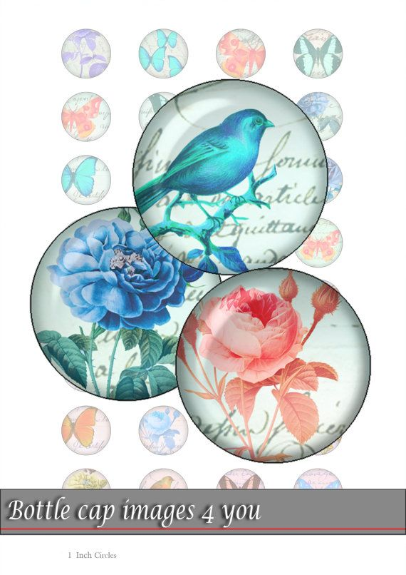 bottle cap images - romantic mood - 1 inch circles for resin jewelry, bottle caps. Digital Collage Sheet