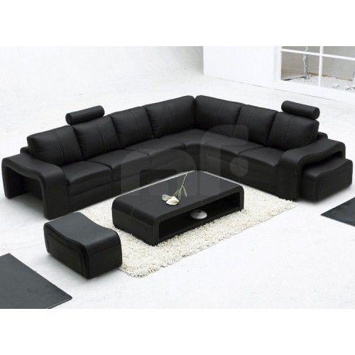 Majestic Black 6 Seater Corner Sofa Furniture Stores In