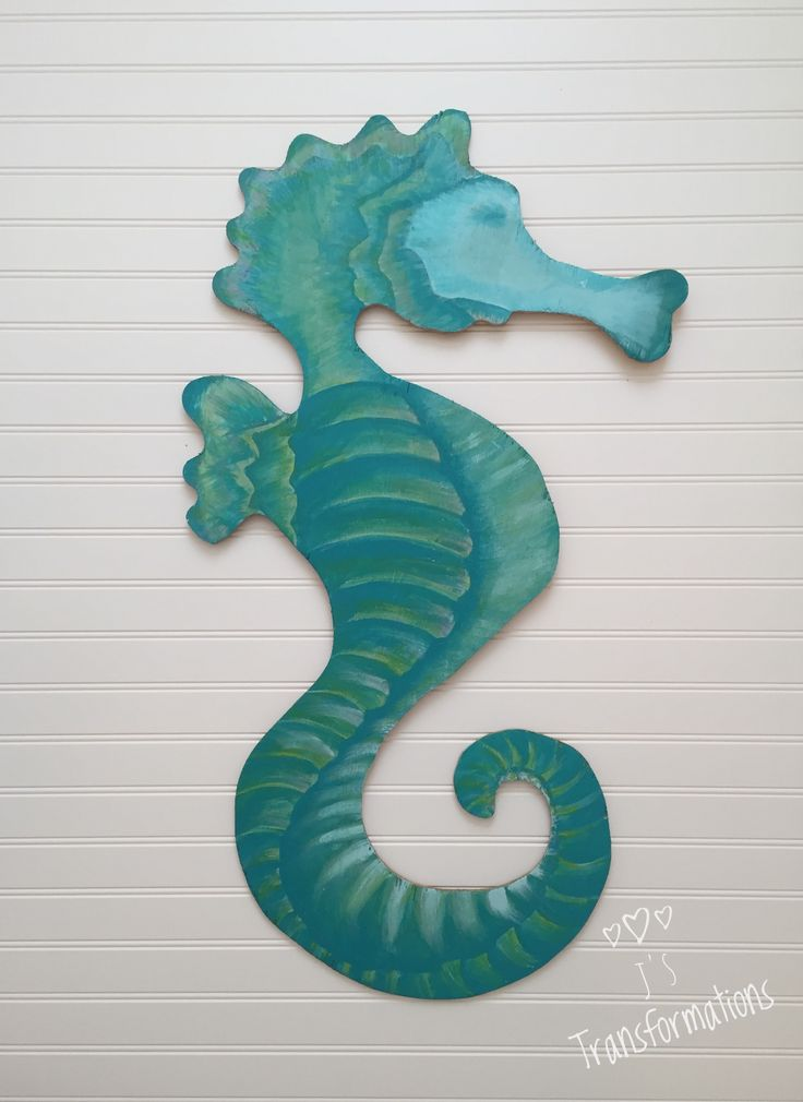 "Seahorse 34"" tall, hand painted on 1/4"" plywood.  FOR SALE     $59."