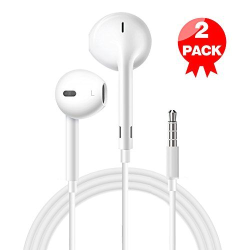 Earphones with Microphone (2 Pack) Premium Earbuds Stereo Headphones and Noise Isolating headset Made for Apple iPhone iPod iPad Samsung Galaxy LG HTC - White  (white)