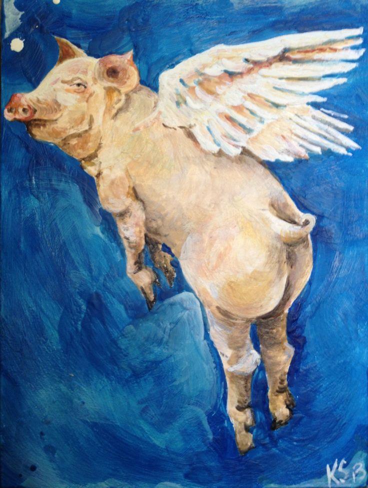 Winged pig encaustic commission.