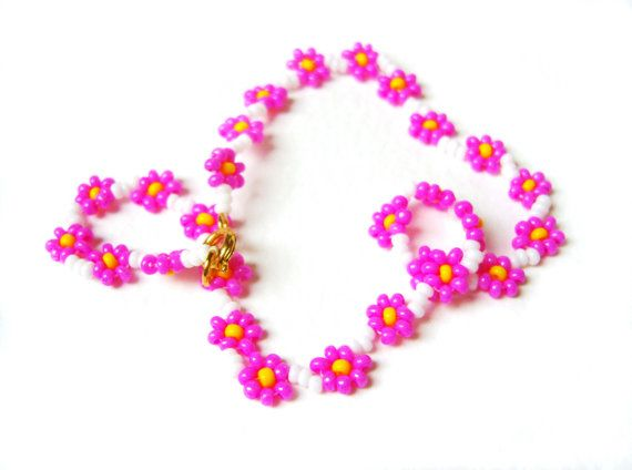 Hot Pink Flower Anklet Daisy Chain Ankle Bracelet Neon Pink