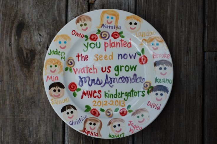 Teacher Plate Customized with Class Faces GREAT TEACHER GIFT personalized by hollyslay on Etsy https://www.etsy.com/listing/97439636/teacher-plate-customized-with-class
