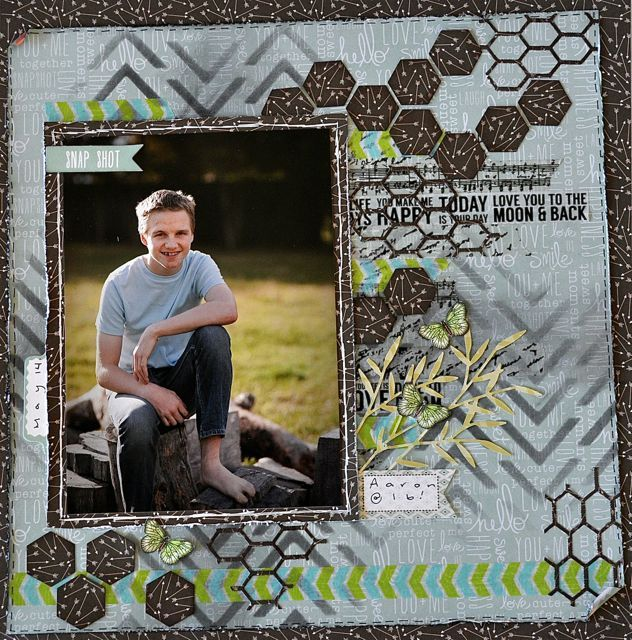A boy layout made using the Bow & Arrow Collection from kaisercraft By Kelly-ann Oosterbeek. Butterflies available on Etsy https://www.etsy.com/au/listing/192632102/green-printable-butterflies-in-3?ref=shop_home_active_7