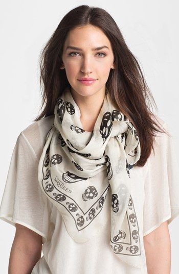 Free shipping and returns on Alexander McQueen 'Skull' Chiffon Scarf at Nordstrom.com. Signature skulls lend an elegant gothic aesthetic to a filmy silk-chiffon scarf.