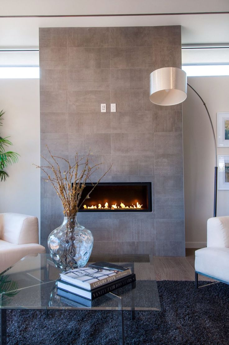 Grey stone modern fireplace (With images)