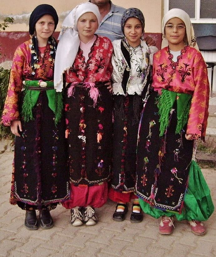 Young girls in traditional costumes.  From the village of Bahtıllı (in the Simav district, Kütahya province).   Clothing style: ca. 1975.