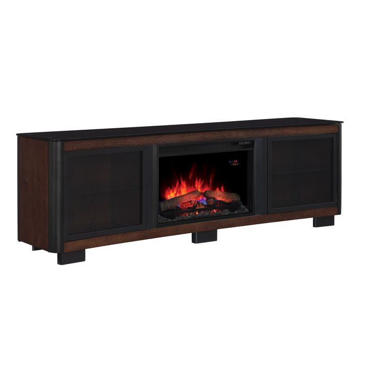 Star Manhattan TV Stand with 26-inch Contemporary Infrared Quartz Fireplace - Chocolate