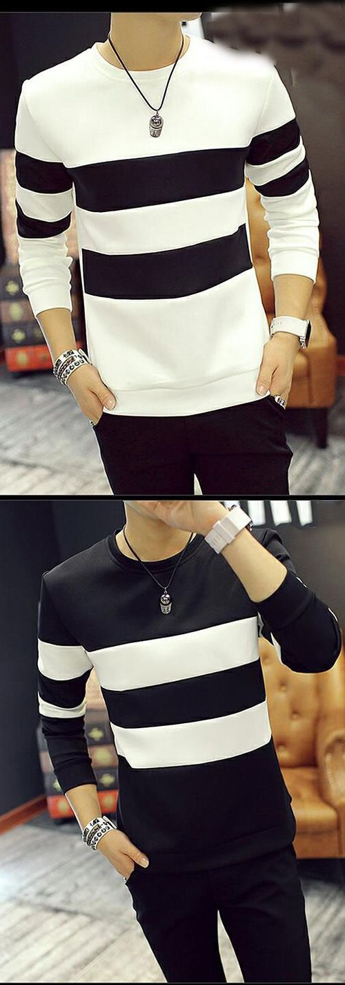 Men's Beach Simple Striped Animal Print Color Block Round Neck Long Sleeves Shirt