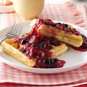 Blueberry/Rhubarb Breakfast Sauce Recipe from Taste of Home -- shared by Rita Wagenmann of Grangeville, Idaho