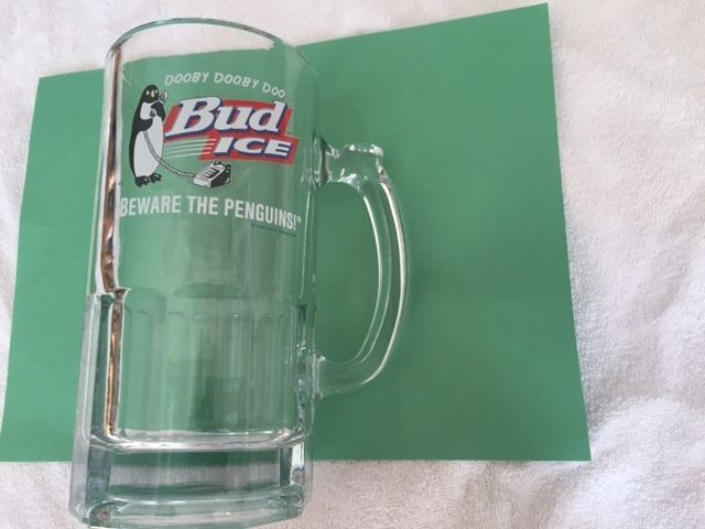 Bud Ice Beware the Penguins 32 ounce beer mug Dream Home