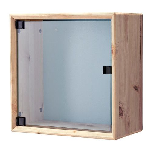 IKEA - NORNÄS, Glass-door wall cabinet, pine gray/blue, , Untreated solid pine is a durable natural material that can be painted, oiled or stained according to preference.</t><t>You can choose a neutral or colorful look as the back panel is reversible.</t><t>Panel/glass doors provide dust-free storage and let you hide or display things according to your needs.