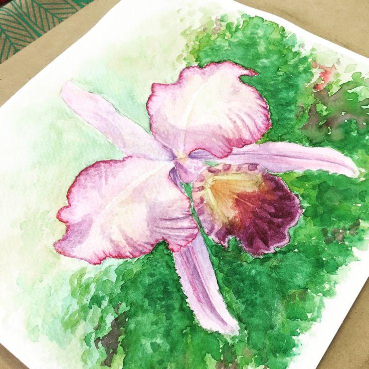 Orquídea en acuarela