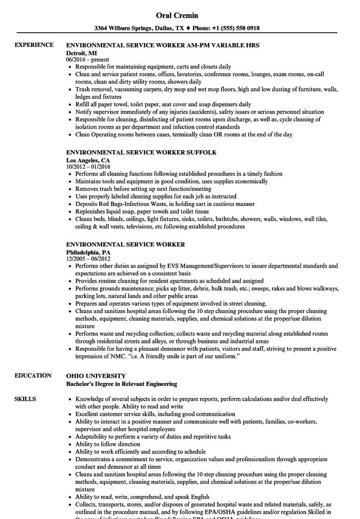 Environmental services resume sample in 2020 resume