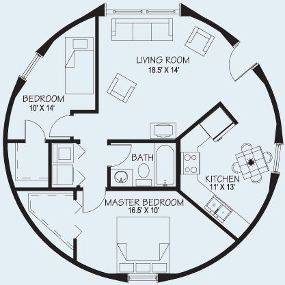 take out the small bedroom and make a larger living space Floor Plans | www.dome-homes.com