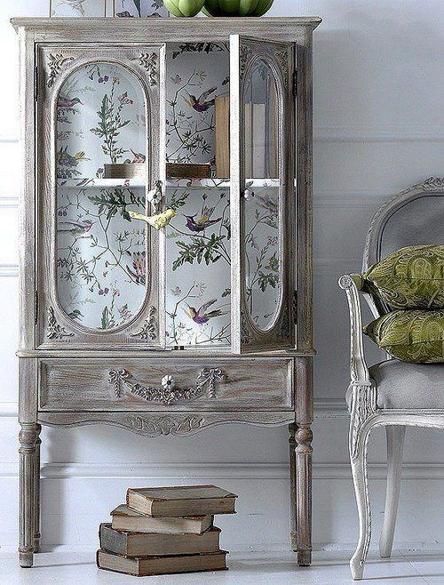 Idea for DIY wallpaper or scrapbooking paper inside glass furniture