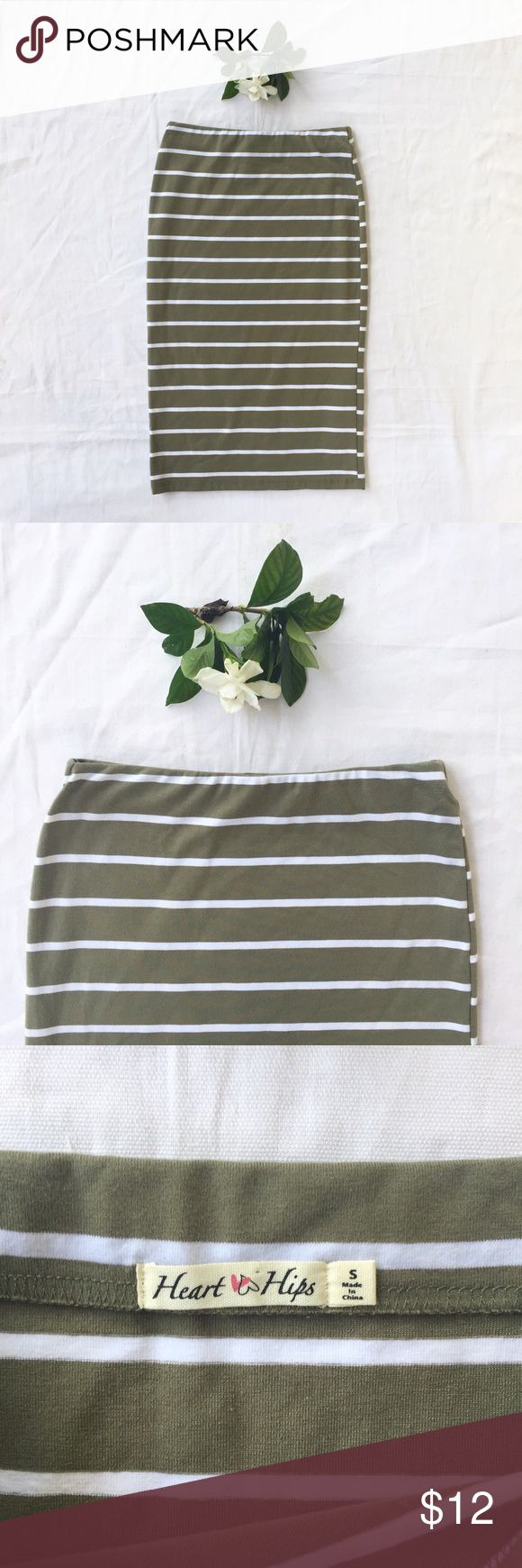 Heart & Hips | Jersey Knit Pencil Skirt | Small Sage green and white striped jersey knit pencil skirt. Soft stretchy fabric - so comfortable! Can be dressed up or down depending on the occasion. Like new condition. Ready to ship next business day! Skirts Pencil