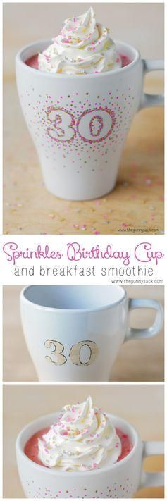 Start your birthday off right with a DIY Sprinkles Birthday Cup and Breakfast Smoothie!