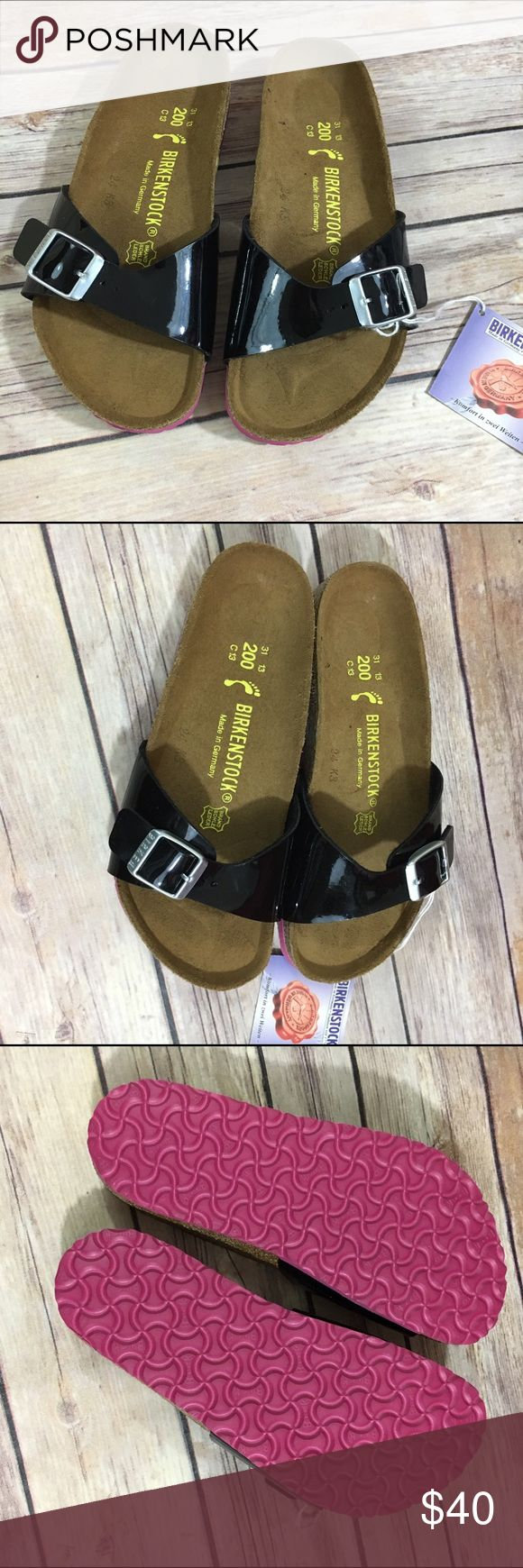 Birkenstock Madrid Black Patent Sandals NEW NWT 13 Birkenstock Madrid Black Patent Sandals NEW NWT 13  These are Euro 31 or kids US 13 (according to the bottom of the shoe).  See last pic for measurement.  Soles are pink.  Super cute.  #new #nwt #madrid #patent #sandals #birkenstock #hippie #black #blackpatent #coolkicks #summer #summerkicks Birkenstock Shoes Sandals & Flip Flops