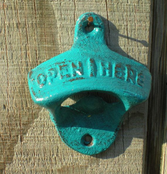 TEAL/Cast Iron Bottle Opener /Kitchen Decor /Vintage/ Retro Style / Man-cave/ Game Room/ Patio/ Rustic Metal Wall Decor on Etsy, $7.00
