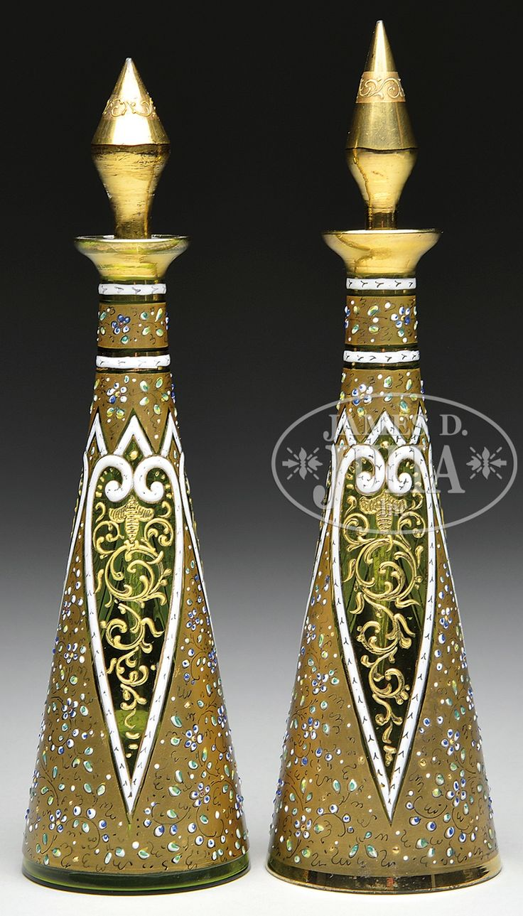 TWO MOSER DECORATED SCENT BOTTLES.