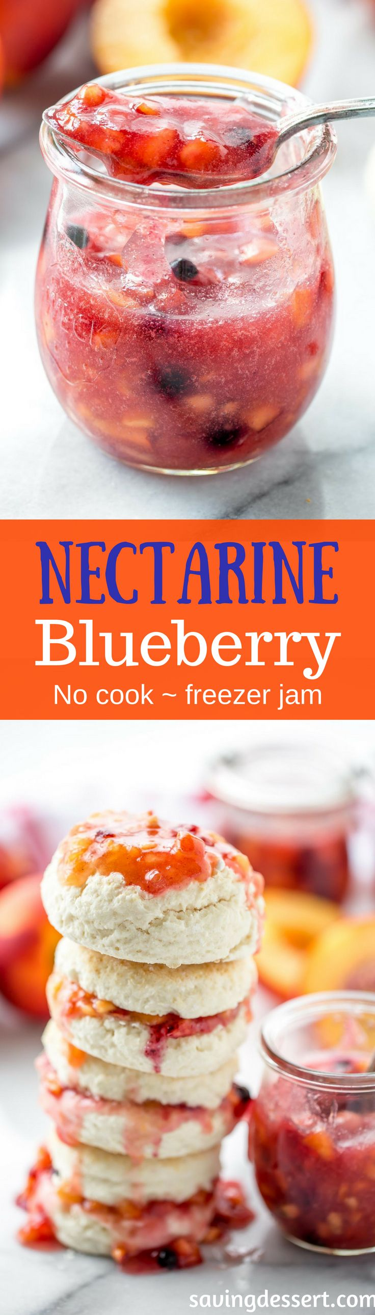 Easy Nectarine Blueberry Freezer Jam ~ get out the easy button because this delicious no-cook jam is as simple as it gets with unpeeled, diced nectarines and blueberries.  www.savingdessert.com